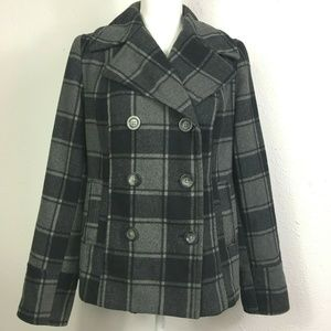 Old Navy Plaid Wool Blend Button Front Pea Coat